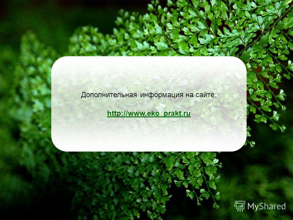 Дополнительная информация на сайте: http://www.eko_prakt.ru