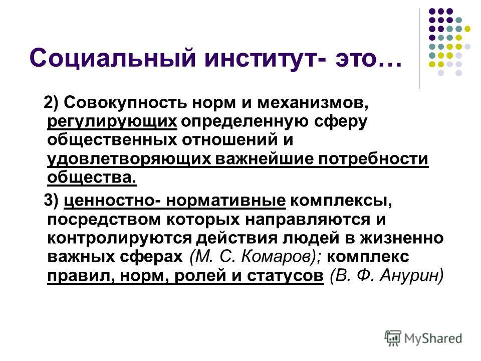 Социальный институт- это… 2) Совокупность норм и механизмов, регулирующих определенную сферу общественных отношений и удовлетворяющих важнейшие потребности общества. 3) ценностно- нормативные комплексы, посредством которых направляются и контролируют