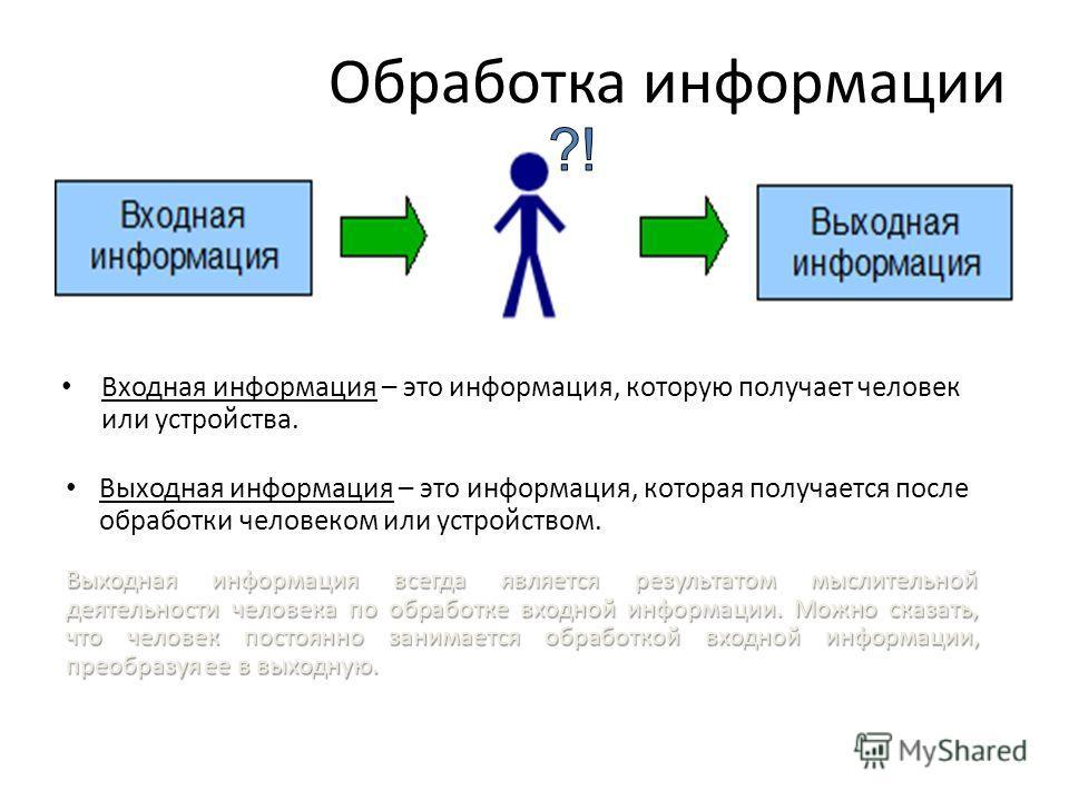 Обработка информации Входная информация – это информация, которую получает человек или устройства. Выходная информация – это информация, которая получается после обработки человеком или устройством. Выходная информация всегда является результатом мыс
