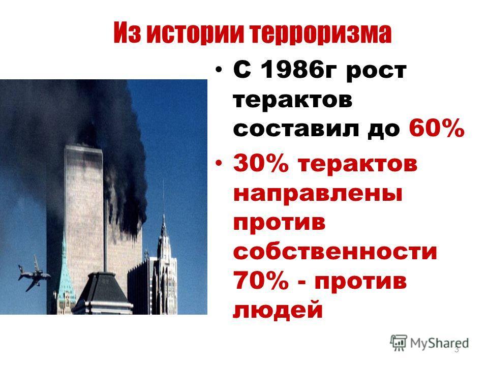 3 Из истории терроризма С 1986г рост терактов составил до 60% 30% терактов направлены против собственности 70% - против людей