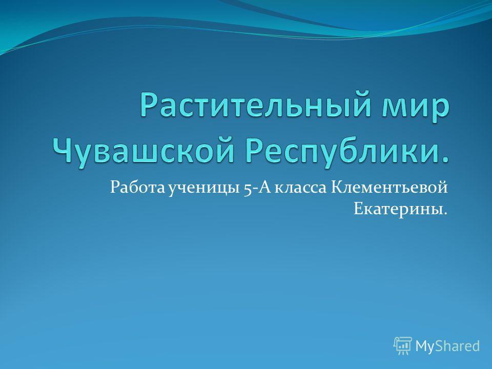Работа ученицы 5-А класса Клементьевой Екатерины.