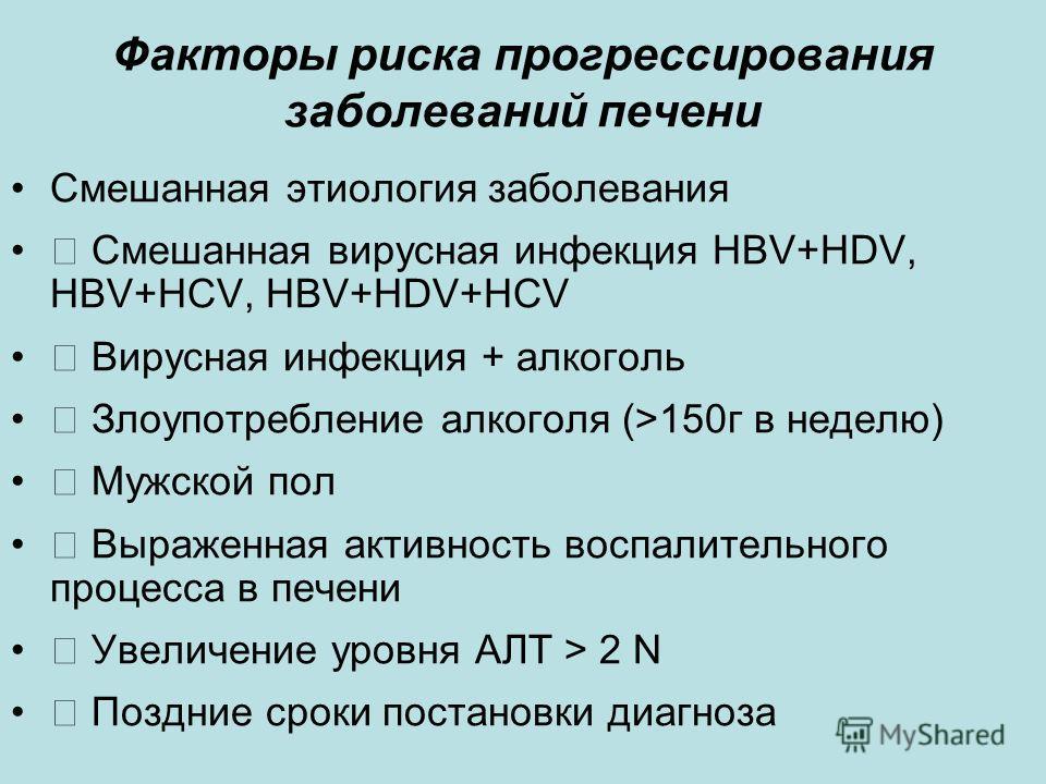 Факторы риска прогрессирования заболеваний печени Смешанная этиология заболевания Смешанная вирусная инфекция HBV+HDV, HBV+HCV, HBV+HDV+HCV Вирусная инфекция + алкоголь Злоупотребление алкоголя (>150г в неделю) Мужской пол Выраженная активность воспа