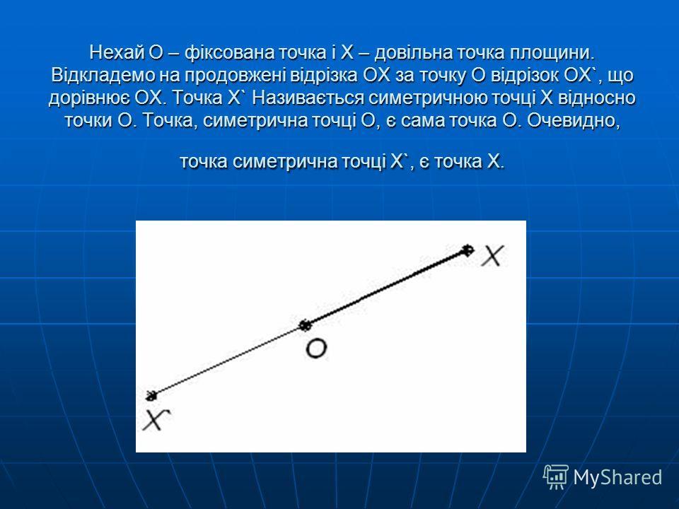 Нехай О – фіксована точка і Х – довільна точка площини. Відкладемо на продовжені відрізка ОХ за точку О відрізок ОХ`, що дорівнює ОХ. Точка Х` Називається симетричною точці Х відносно точки О. Точка, симетрична точці О, є сама точка О. Очевидно, точк