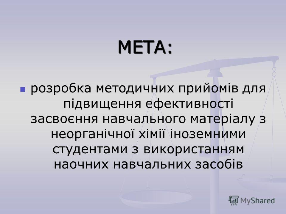МЕТА: розробка методичних прийомів для підвищення ефективності засвоєння навчального матеріалу з неорганічної хімії іноземними студентами з використанням наочних навчальних засобів