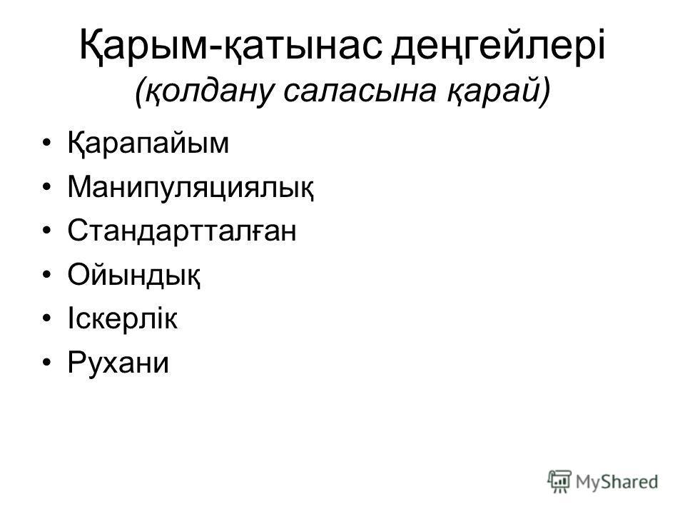 Қарым-қатынас деңгейлері (қолдану саласына қарай) Қарапайым Манипуляциялық Стандартталған Ойындық Іскерлік Рухани