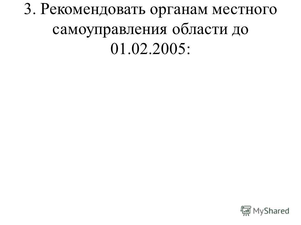 3. Рекомендовать органам местного самоуправления области до 01.02.2005: