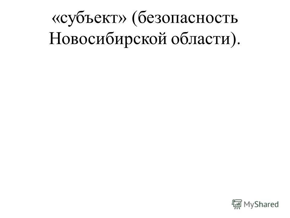 «субъект» (безопасность Новосибирской области).