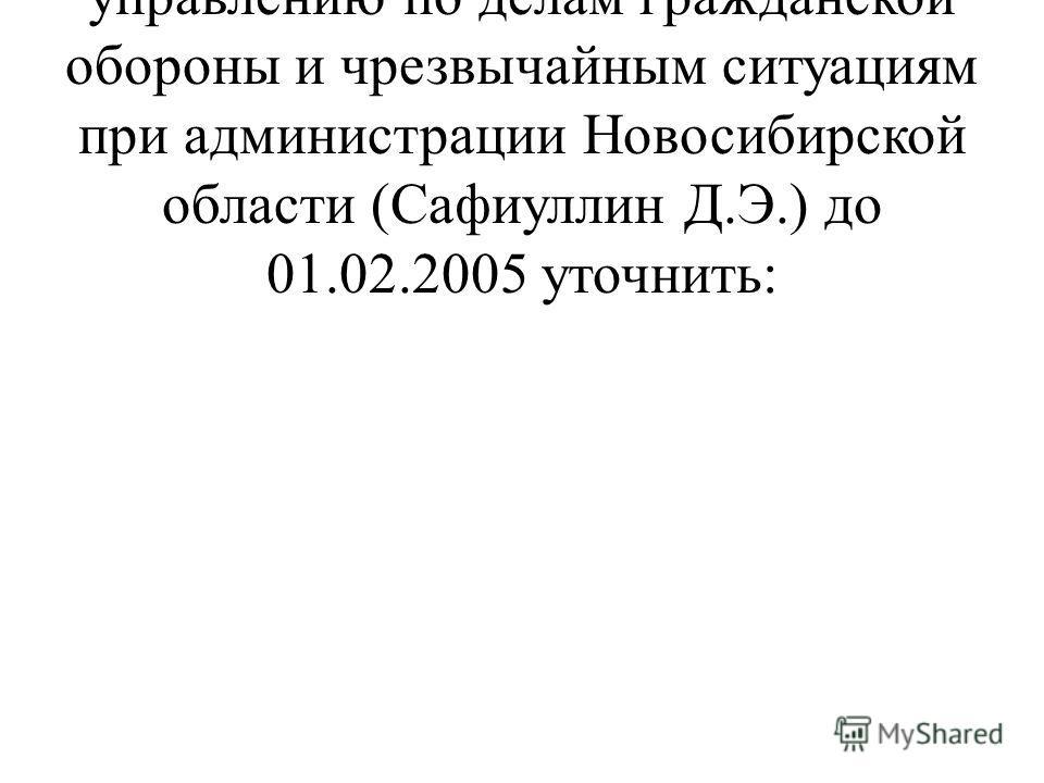 2. Рекомендовать Главному управлению по делам гражданской обороны и чрезвычайным ситуациям при администрации Новосибирской области (Сафиуллин Д.Э.) до 01.02.2005 уточнить: