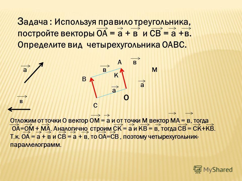 З адача : Используя правило треугольника, постройте векторы ОА = а + в и CВ = а +в. Определите вид четырехугольника ОАВС. а в о В С К А М а в а в Отложим от точки О вектор ОМ = а и от точки М вектор МА = в, тогда ОА=ОМ + МА. Аналогично строим СК = а