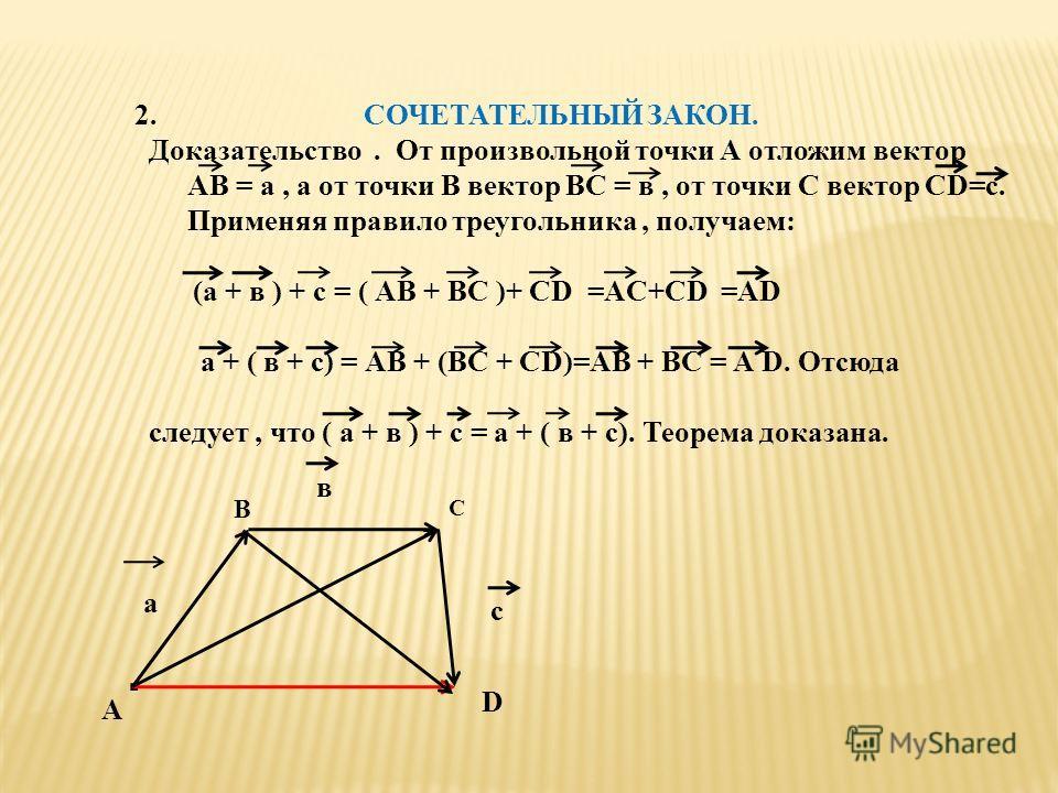 2. СОЧЕТАТЕЛЬНЫЙ ЗАКОН. Доказательство. От произвольной точки А отложим вектор АВ = а, а от точки В вектор ВС = в, от точки С вектор СD=с. Применяя правило треугольника, получаем: (а + в ) + с = ( АВ + ВС )+ СD =АC+СD =АD а + ( в + с) = АВ + (ВС + СD