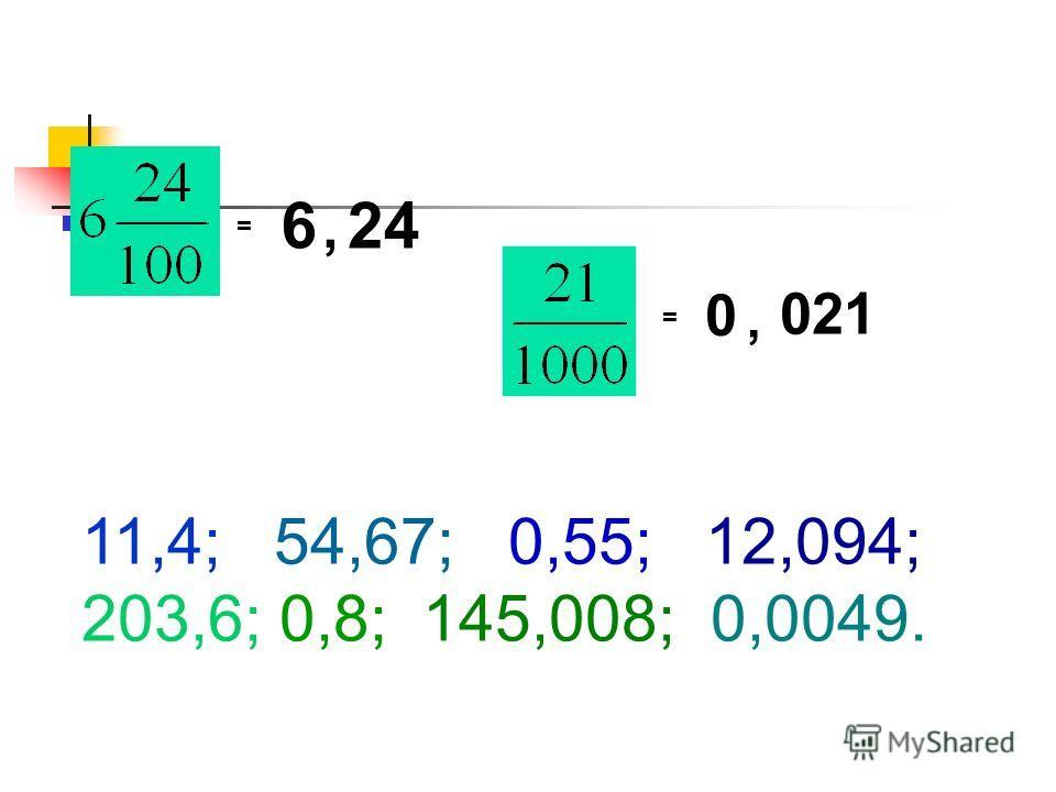 = = 0, 021 6, 24 11,4; 54,67; 0,55; 12,094; 203,6; 0,8; 145,008; 0,0049.