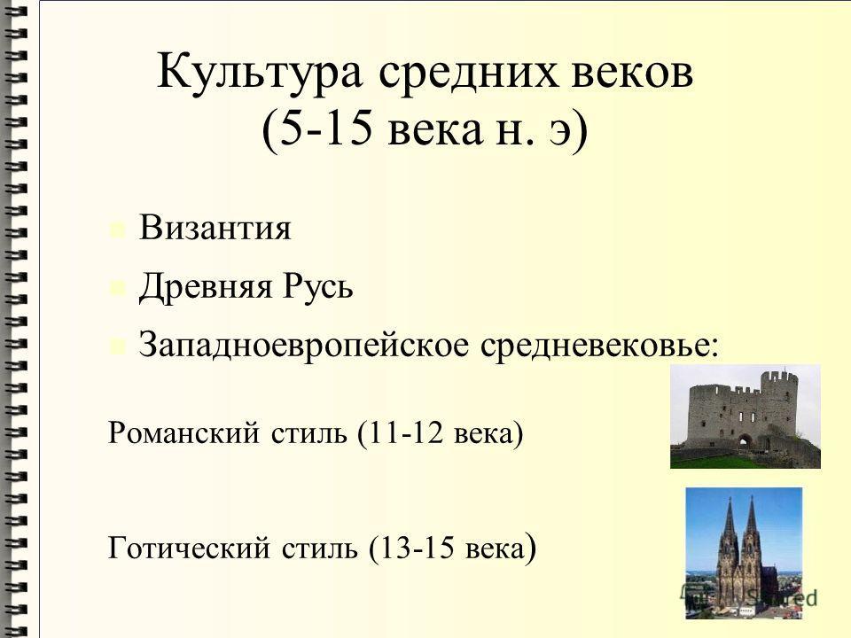 Культура средних веков (5-15 века н. э) Византия Древняя Русь Западноевропейское средневековье: Романский стиль (11-12 века) Готический стиль (13-15 века )