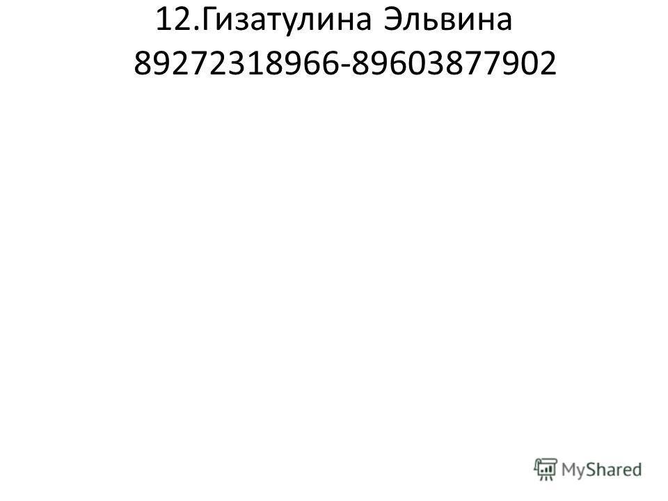 12.Гизатулина Эльвина 89272318966-89603877902