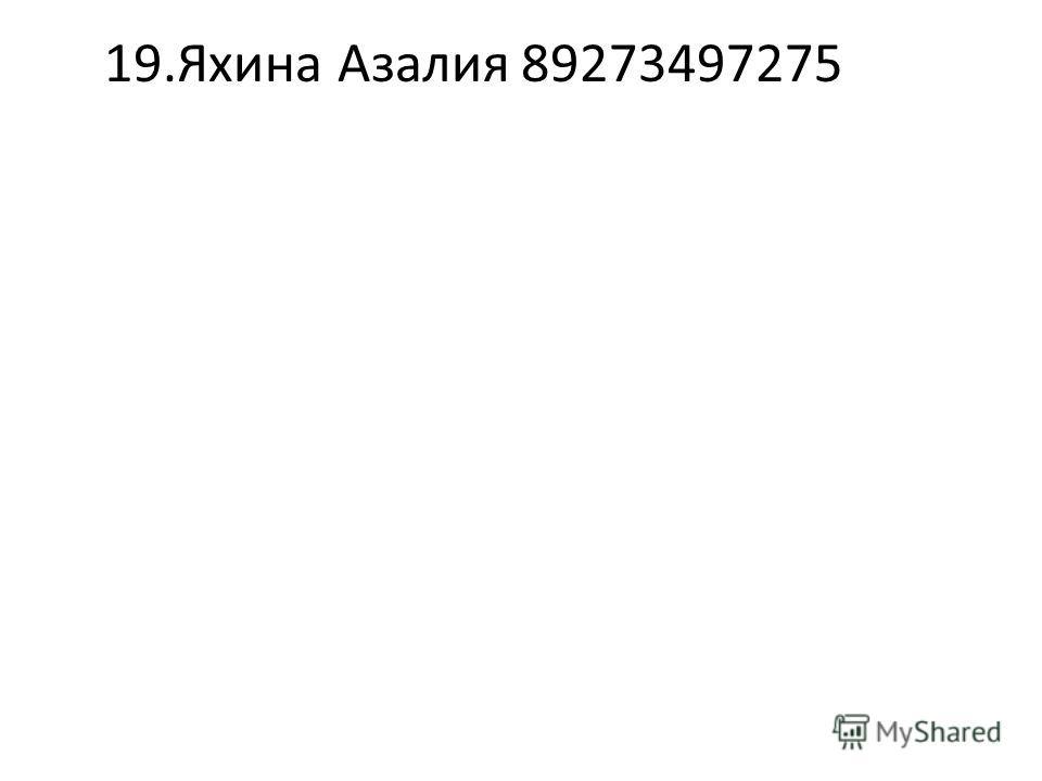 19.Яхина Азалия89273497275