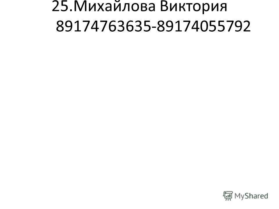 25.Михайлова Виктория 89174763635-89174055792