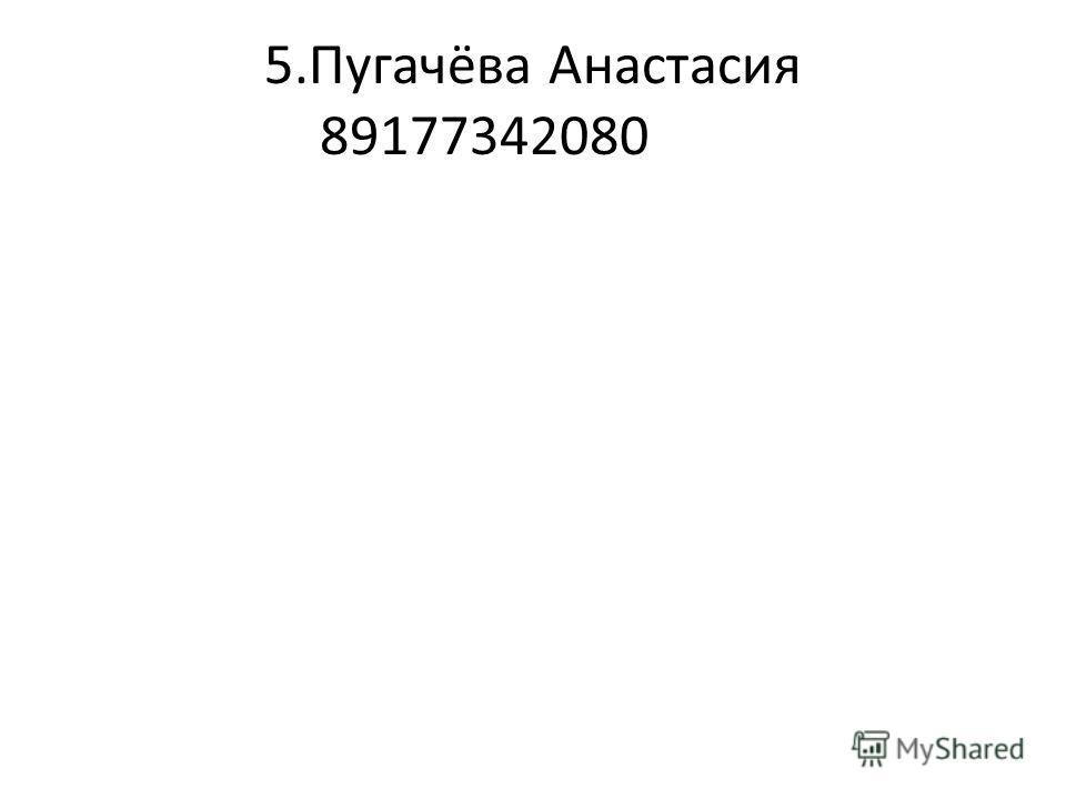 5.Пугачёва Анастасия 89177342080