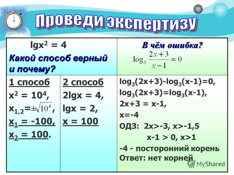 2 lgx 2 = 4 Какой способ верный и почему? В чём ошибка? 1 способ х 2 = 10 4, х 1,2 =±, х 1 = -100, х 2 = 100. 2 способ 2lgx = 4, lgx = 2, х = 100 log 3 (2x+3)-log 3 (x-1)=0, log 3 (2x+3)=log 3 (x-1), 2х+3 = х-1, х=-4 ОДЗ: 2х>-3, х>-1,5 х-1 > 0, х>1 -