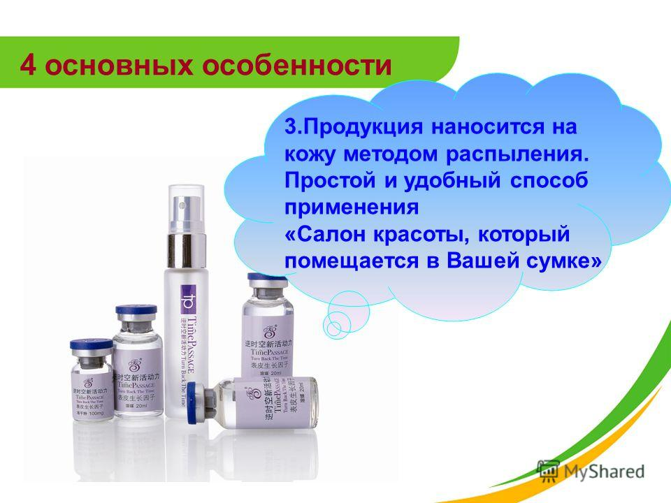 4 основных особенности 3.Продукция наносится на кожу методом распыления. Простой и удобный способ применения «Салон красоты, который помещается в Вашей сумке»