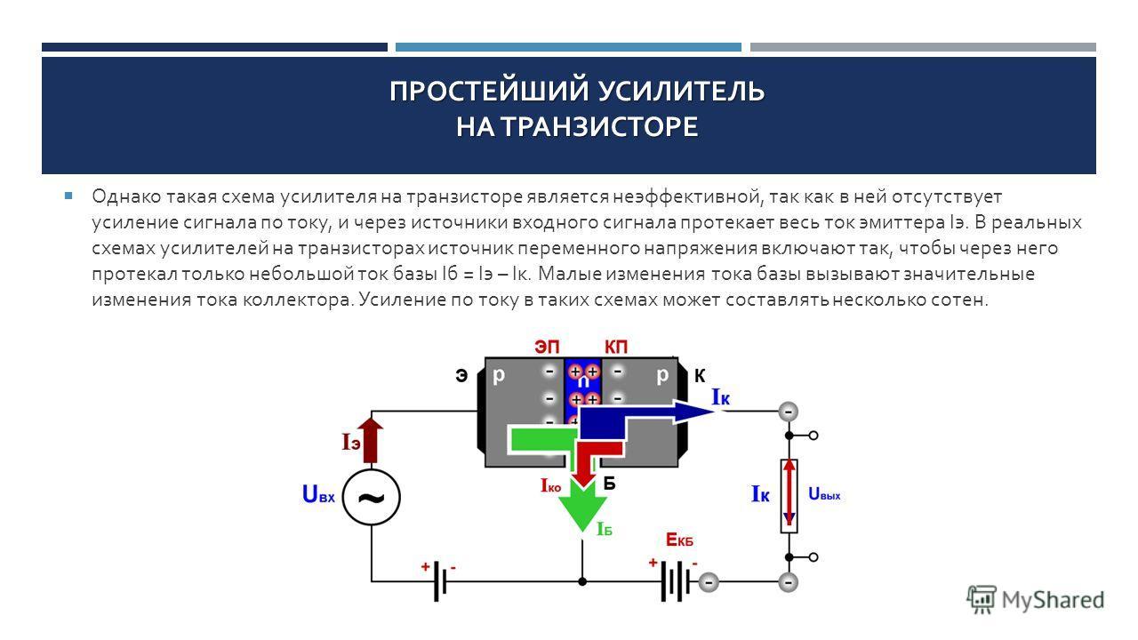 ПРОСТЕЙШИЙ УСИЛИТЕЛЬ НА ТРАНЗИСТОРЕ Однако такая схема усилителя на транзисторе является неэффективной, так как в ней отсутствует усиление сигнала по току, и через источники входного сигнала протекает весь ток эмиттера I э. В реальных схемах усилител