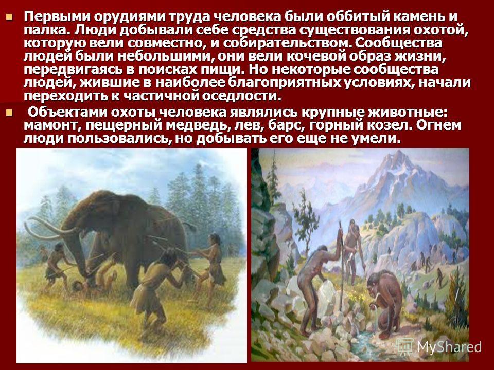 Первыми орудиями труда человека были оббитый камень и палка. Люди добывали себе средства существования охотой, которую вели совместно, и собирательством. Сообщества людей были небольшими, они вели кочевой образ жизни, передвигаясь в поисках пищи. Но