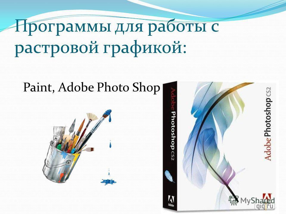 Программы для работы с растровой графикой: Paint, Adobe Photo Shop