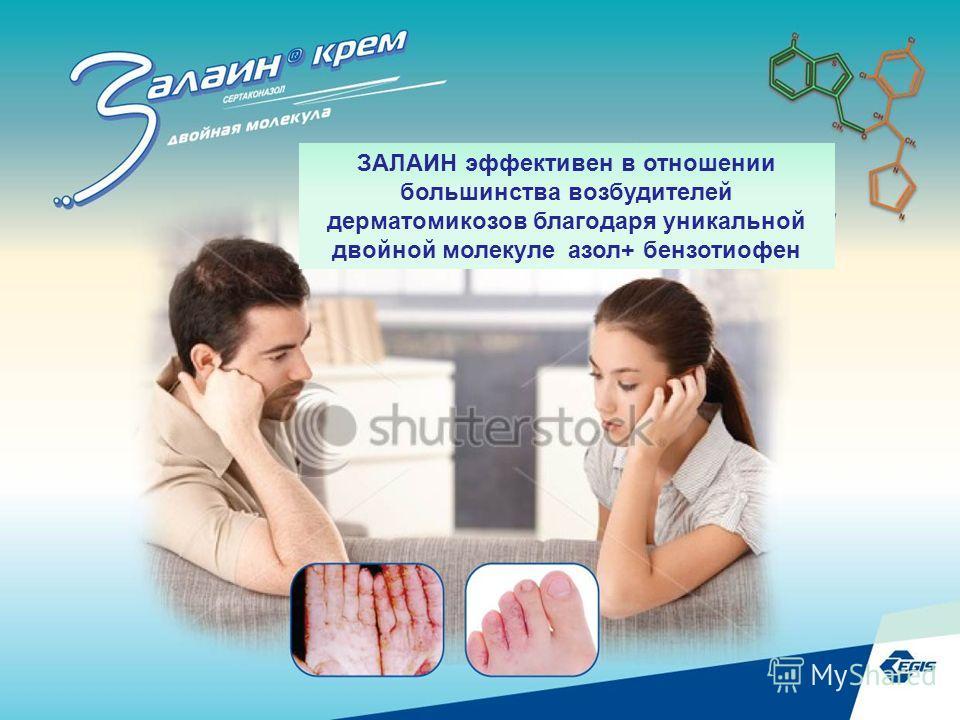 29 ЗАЛАИН эффективен в отношении большинства возбудителей дерматомикозов благодаря уникальной двойной молекуле азол+ бензотиофен