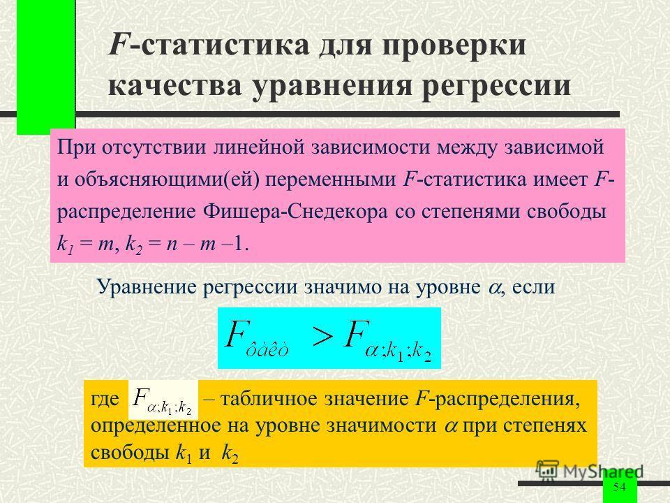 54 F-статистика для проверки качества уравнения регрессии При отсутствии линейной зависимости между зависимой и объясняющими(ей) переменными F-статистика имеет F- распределение Фишера-Снедекора со степенями свободы k 1 = m, k 2 = n – m –1. Уравнение