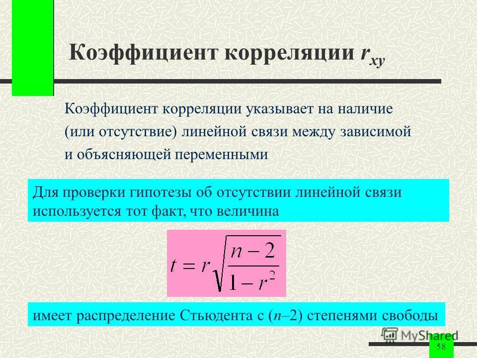 58 Коэффициент корреляции r xy Коэффициент корреляции указывает на наличие (или отсутствие) линейной связи между зависимой и объясняющей переменными Для проверки гипотезы об отсутствии линейной связи используется тот факт, что величина имеет распреде