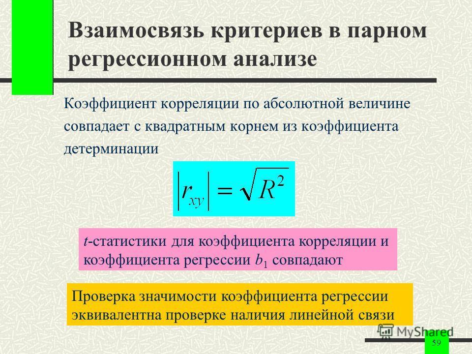 59 Взаимосвязь критериев в парном регрессионном анализе Коэффициент корреляции по абсолютной величине совпадает с квадратным корнем из коэффициента детерминации t-статистики для коэффициента корреляции и коэффициента регрессии b 1 совпадают Проверка