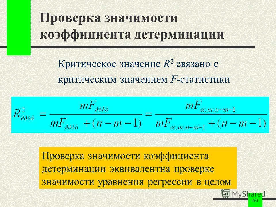 60 Проверка значимости коэффициента детерминации Критическое значение R 2 связано с критическим значением F-статистики Проверка значимости коэффициента детерминации эквивалентна проверке значимости уравнения регрессии в целом