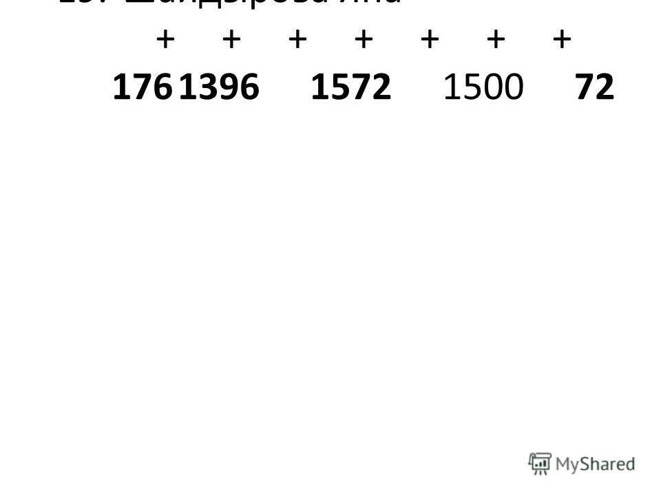 19.Шайдырова Яна+++ +++++++ 17613961572150072