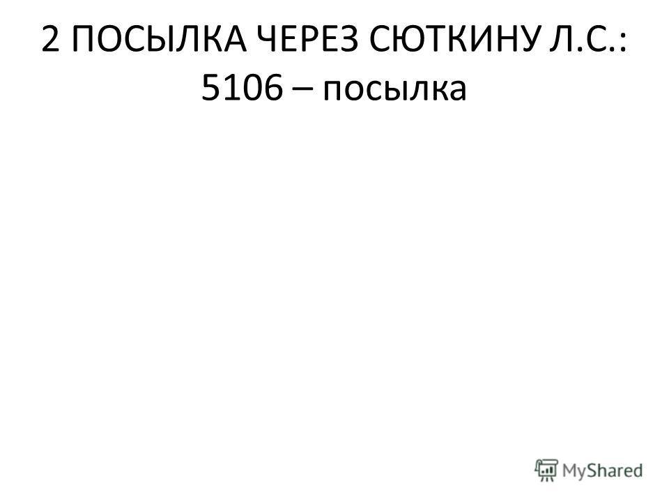 2 ПОСЫЛКА ЧЕРЕЗ СЮТКИНУ Л.С.: 5106 – посылка