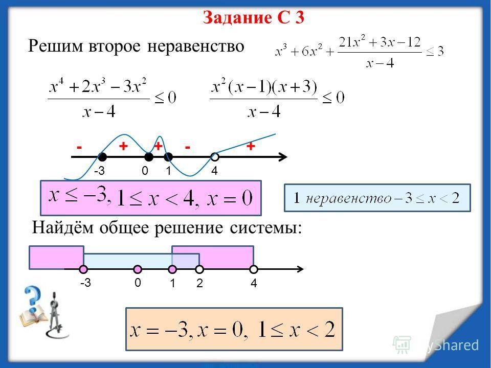 Задание С 3 Решим второе неравенство -3014 +-++- Найдём общее решение системы: 421 0-3