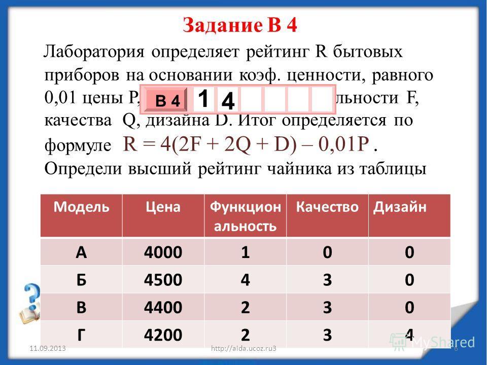 Лаборатория определяет рейтинг R бытовых приборов на основании коэф. ценности, равного 0,01 цены Р, показателей функциональности F, качества Q, дизайна D. Итог определяется по формуле R = 4(2F + 2Q + D) – 0,01P. Определи высший рейтинг чайника из таб