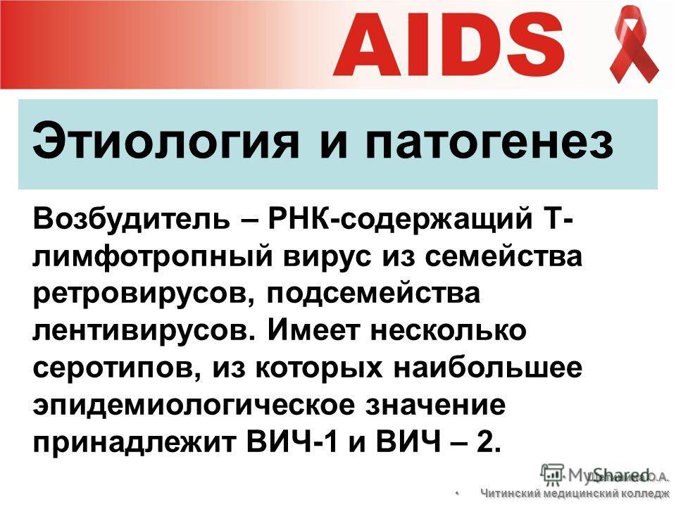 Этиология и патогенез Возбудитель – РНК-содержащий Т- лимфотропный вирус из семейства ретровирусов, подсемейства лентивирусов. Имеет несколько серотипов, из которых наибольшее эпидемиологическое значение принадлежит ВИЧ-1 и ВИЧ – 2. Щетинина О.А.Щети