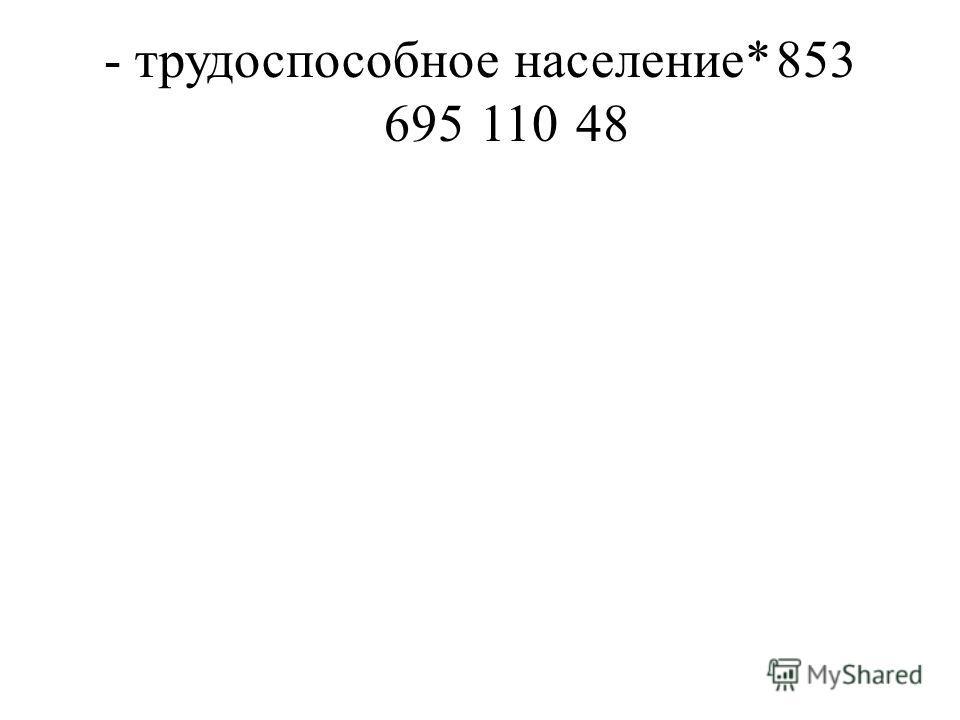 - трудоспособное население*853 69511048