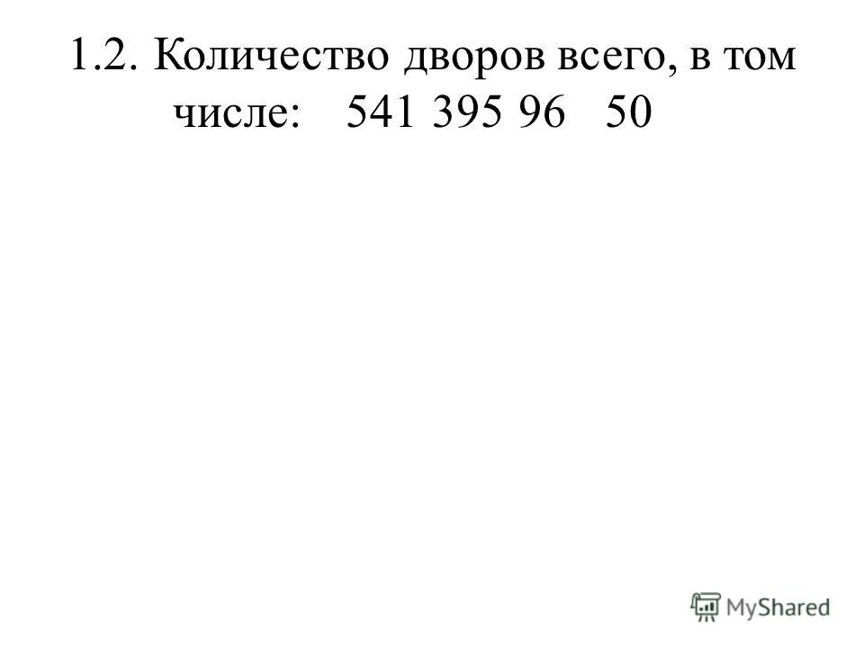 1.2.Количество дворов всего, в том числе:5413959650