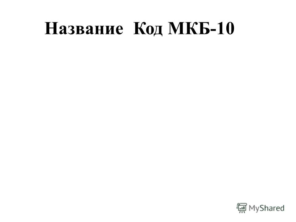 НазваниеКод МКБ-10