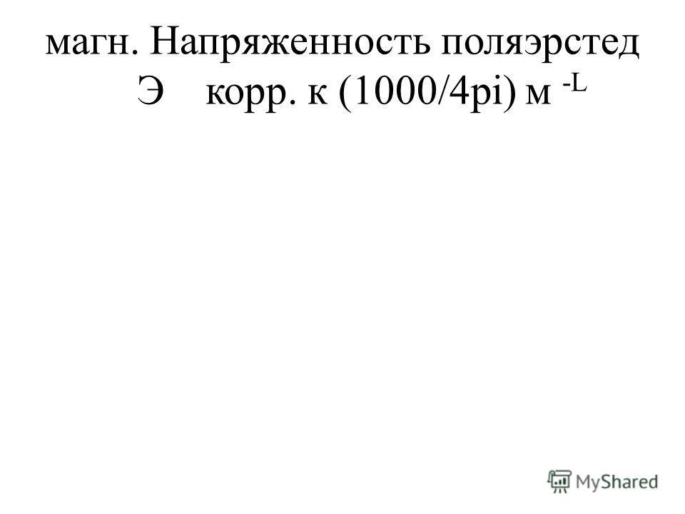 магн. Напряженность поляэрстед Экорр. к (1000/4pi) м -L