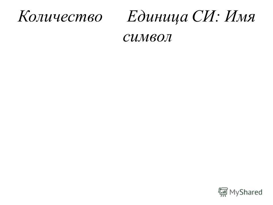 КоличествоЕдиница СИ: Имя символ