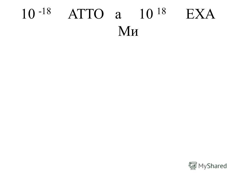 10 -18 ATTOa10 18 EXA Ми