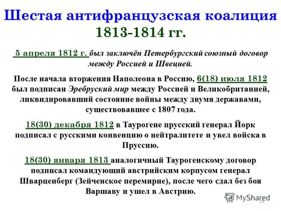 19 Шестая антифранцузская коалиция 1813-1814 гг. 5 апреля 1812 г. был заключён Петербургский союзный договор между Россией и Швецией. 5 апреля 1812 г. был заключён Петербургский союзный договор между Россией и Швецией. После начала вторжения Наполеон