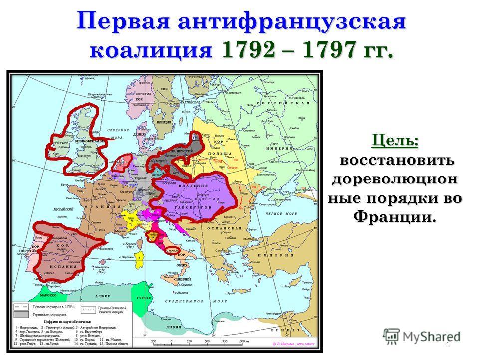 4 Первая антифранцузская коалиция 1792 – 1797 гг. Цель: восстановить дореволюцион ные порядки во Франции. восстановить дореволюцион ные порядки во Франции.