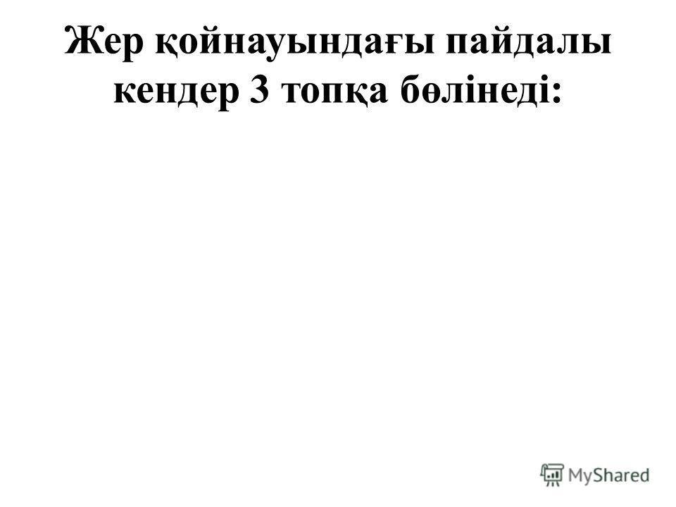 Жер қойнауындағы пайдалы кендер 3 топқа бөлінеді: