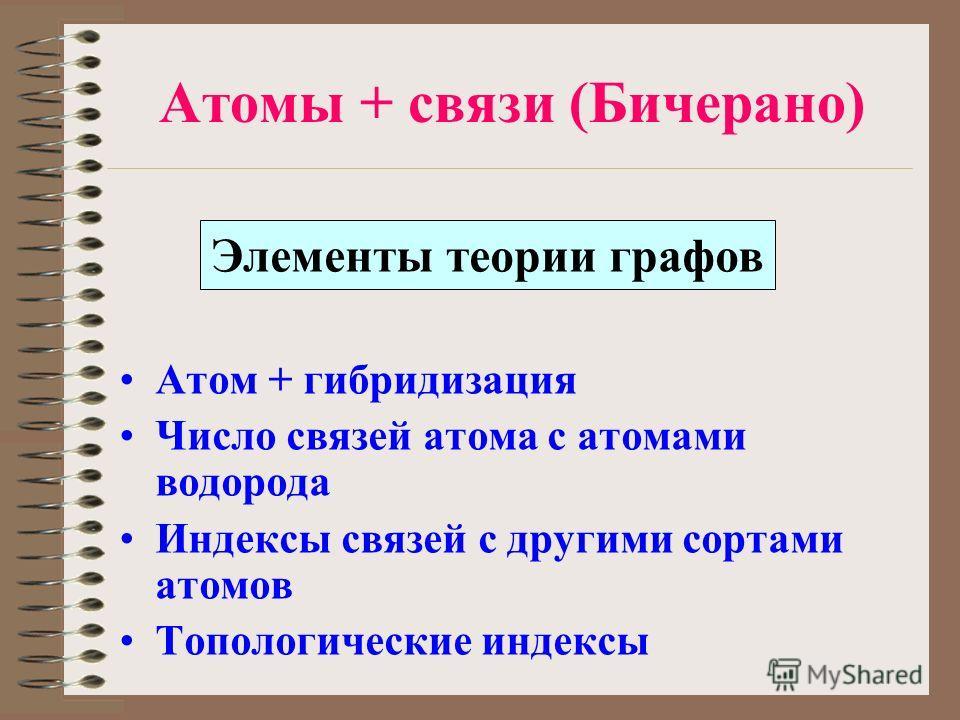 Атомы + связи (Бичерано) Атом + гибридизация Число связей атома с атомами водорода Индексы связей с другими сортами атомов Топологические индексы Элементы теории графов