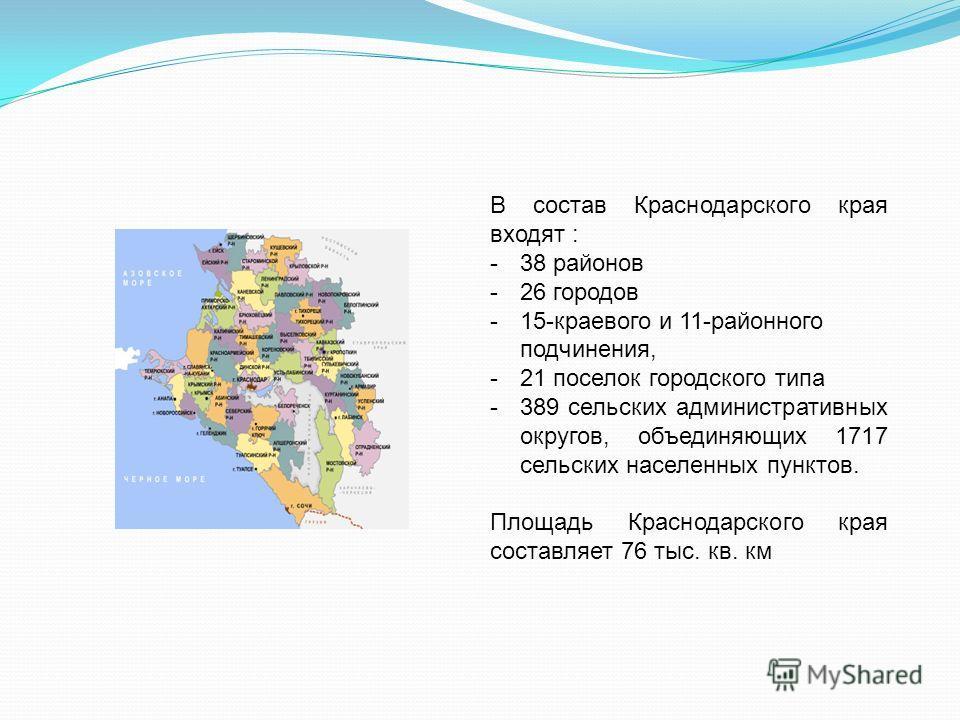 В состав Краснодарского края входят : -38 районов -26 городов -15-краевого и 11-районного подчинения, -21 поселок городского типа -389 сельских административных округов, объединяющих 1717 сельских населенных пунктов. Площадь Краснодарского края соста
