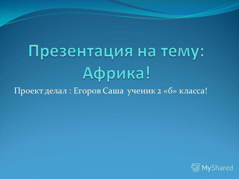 Проект делал : Егоров Саша ученик 2 «б» класса!