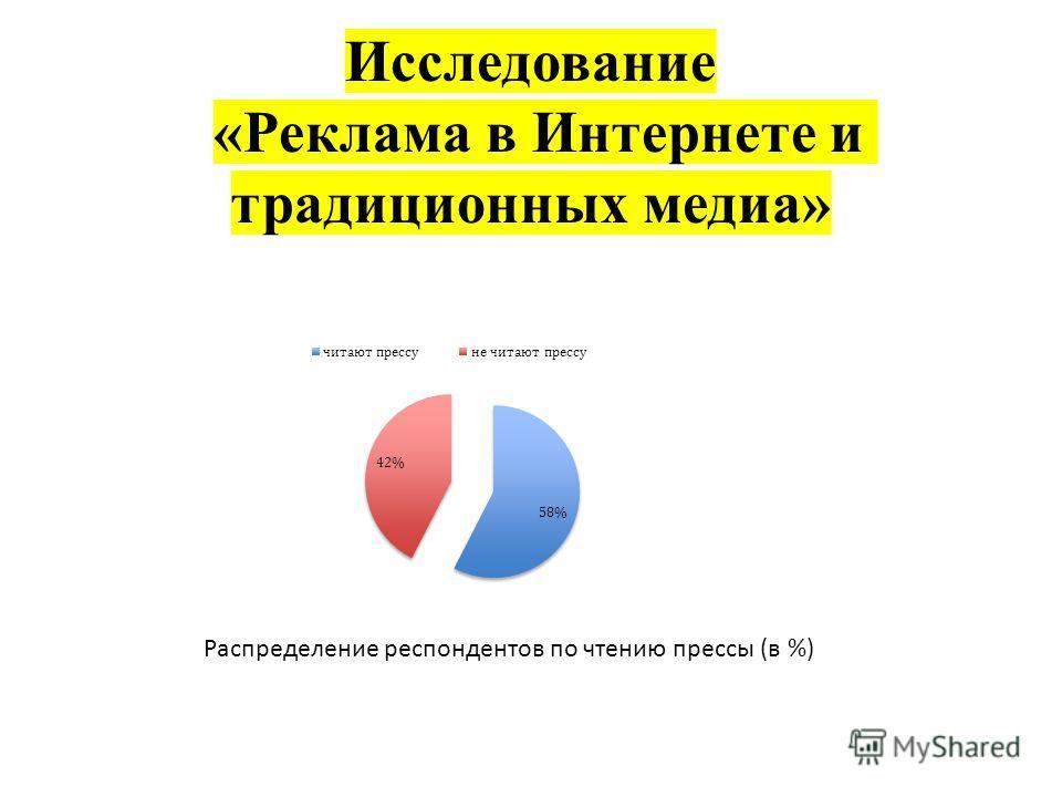 Исследование «Реклама в Интернете и традиционных медиа» Распределение респондентов по чтению прессы (в %)