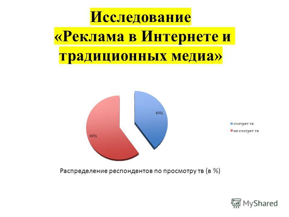 Исследование «Реклама в Интернете и традиционных медиа» Распределение респондентов по просмотру тв (в %)