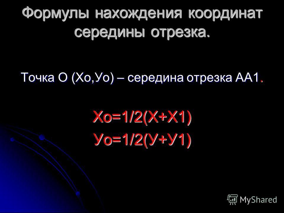 Формулы нахождения координат середины отрезка. Точка О (Хо,Уо) – середина отрезка АА1. Хо=1/2(Х+Х1)Уо=1/2(У+У1)